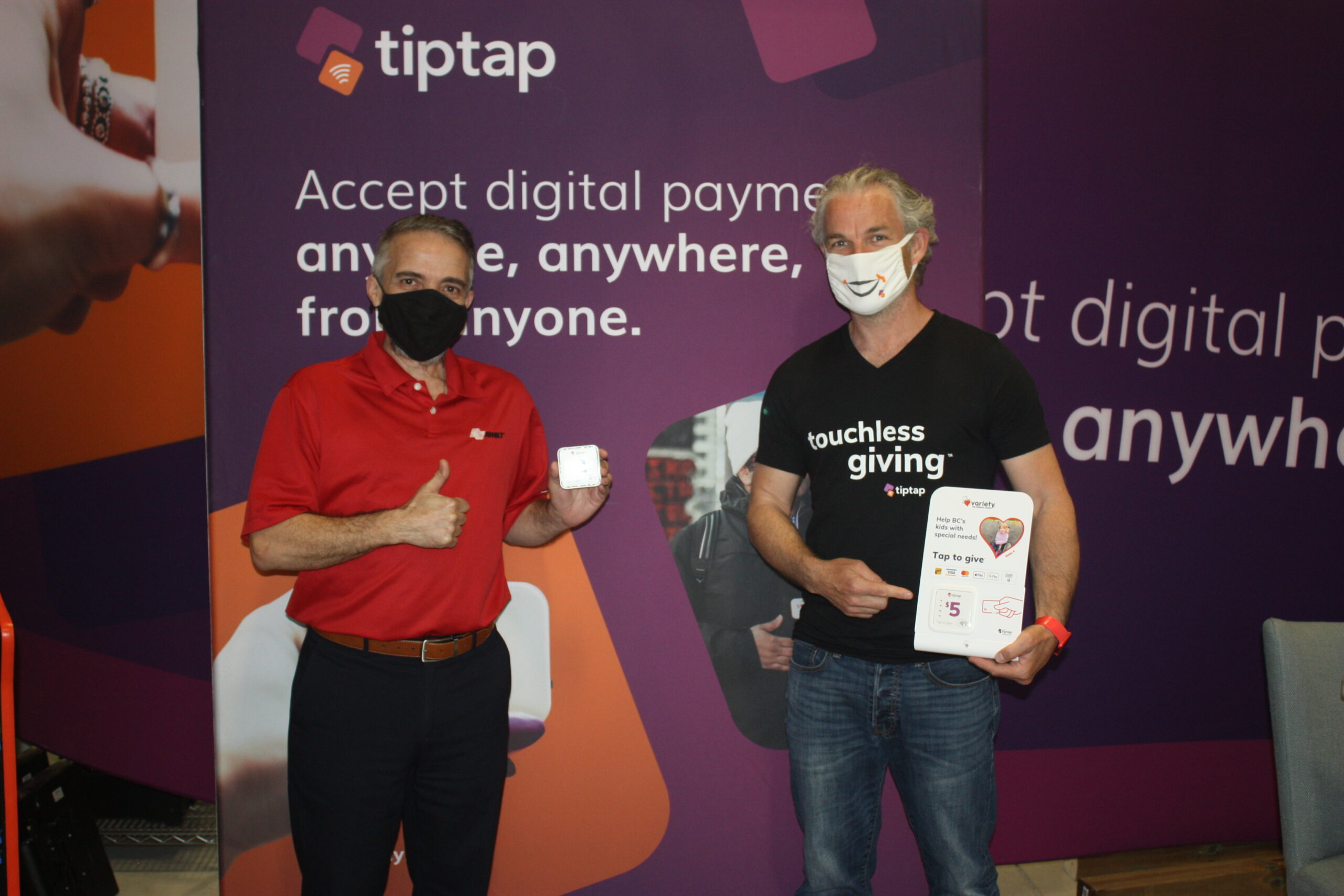 Avnet Account Manager Joe Scarfone (left) tiptap CEO, Chris Greenfield (right).